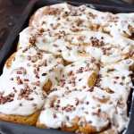 Pumpkin Pecan Cinnamon Rolls with Cream Cheese Frosting
