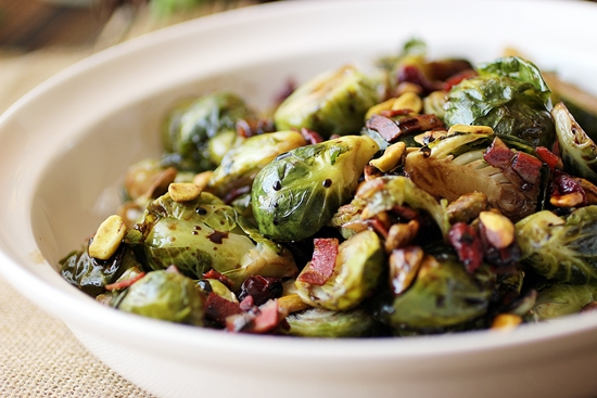 Brussels Sprouts with Cranberries and Balsamic Glaze
