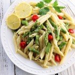 Asparagus Pasta with Creamy Garlic Sauce