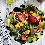 Strawberry Mango Salad with Sweet Balsamic Dressing and a Visit to Lucero Olive Oil