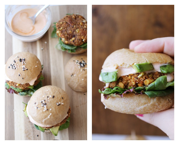 Vegan Sweet Potato and Red Lentil Burgers with Spicy Mayo